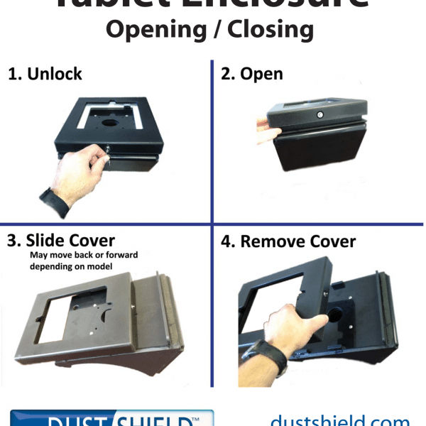 Tablet enclosure opening and closing