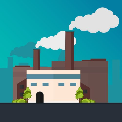 industrial manufacturing building with smoke floating from chimneys