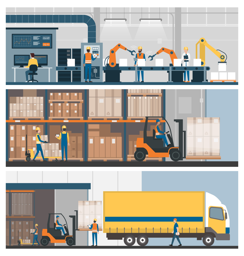 Graphic of industrial production process, from warehouse to shipping